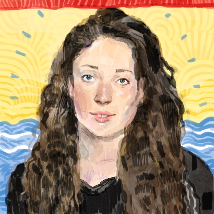 Illustration of Thalia Kane in front of a New Brunswick flag.